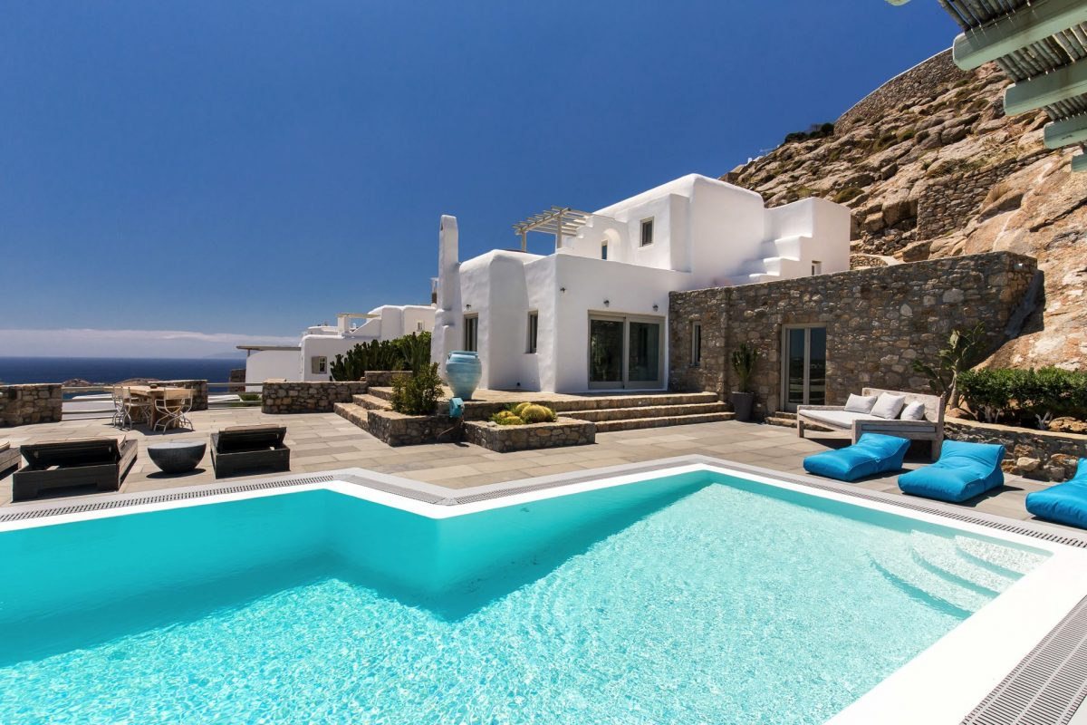 cyclades mykonos psarou bay location maison luxe. Black Bedroom Furniture Sets. Home Design Ideas